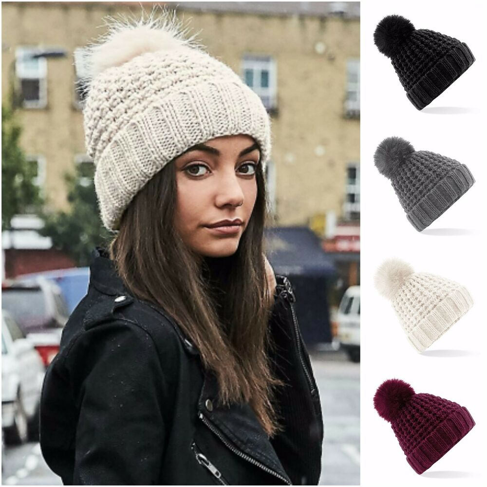 Details about Chunky Knit Winter Beanie Bobble Hat Warm Woolly Hat Faux Fur  Pom Pom 6ac07cdda204