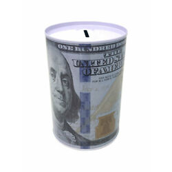 Kyпить Tin Money Savings Piggy Bank with Ben Franklin $100 Bill Money Coin Saver 4