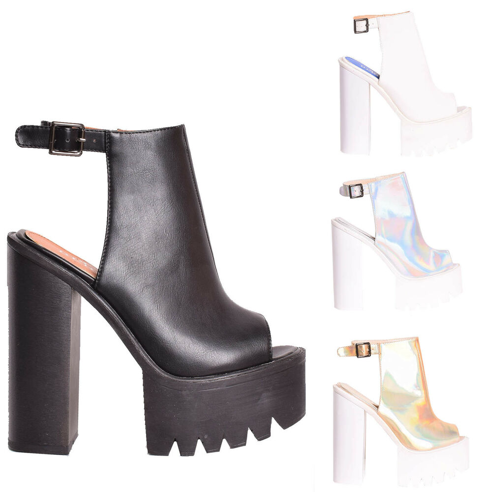 cb68883e25e3 Details about Womens Cleated Sole Ladies Chunky Heels Platform Buckle Peep  Toe High Heel Shoes