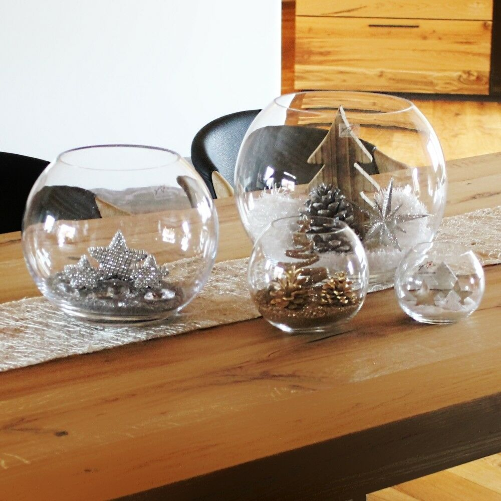 weihnachtsdekoration tischdekoration glas weihnachten sterne sand kugeln vase ebay. Black Bedroom Furniture Sets. Home Design Ideas
