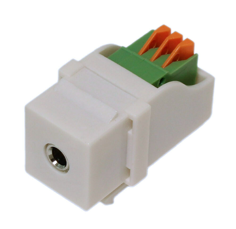 Wall Plate Keystone Jack 35mm Stereo Audio Block Connector White Cat 5 Wiring Diagram Prise 714439004590 Ebay