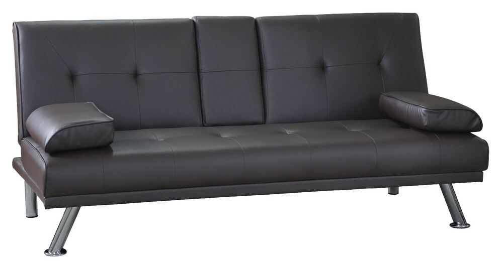 3 Seater Sofa Bed Brown Faux Leather Clic Clac Design Cup Holder 5060443380898 Ebay