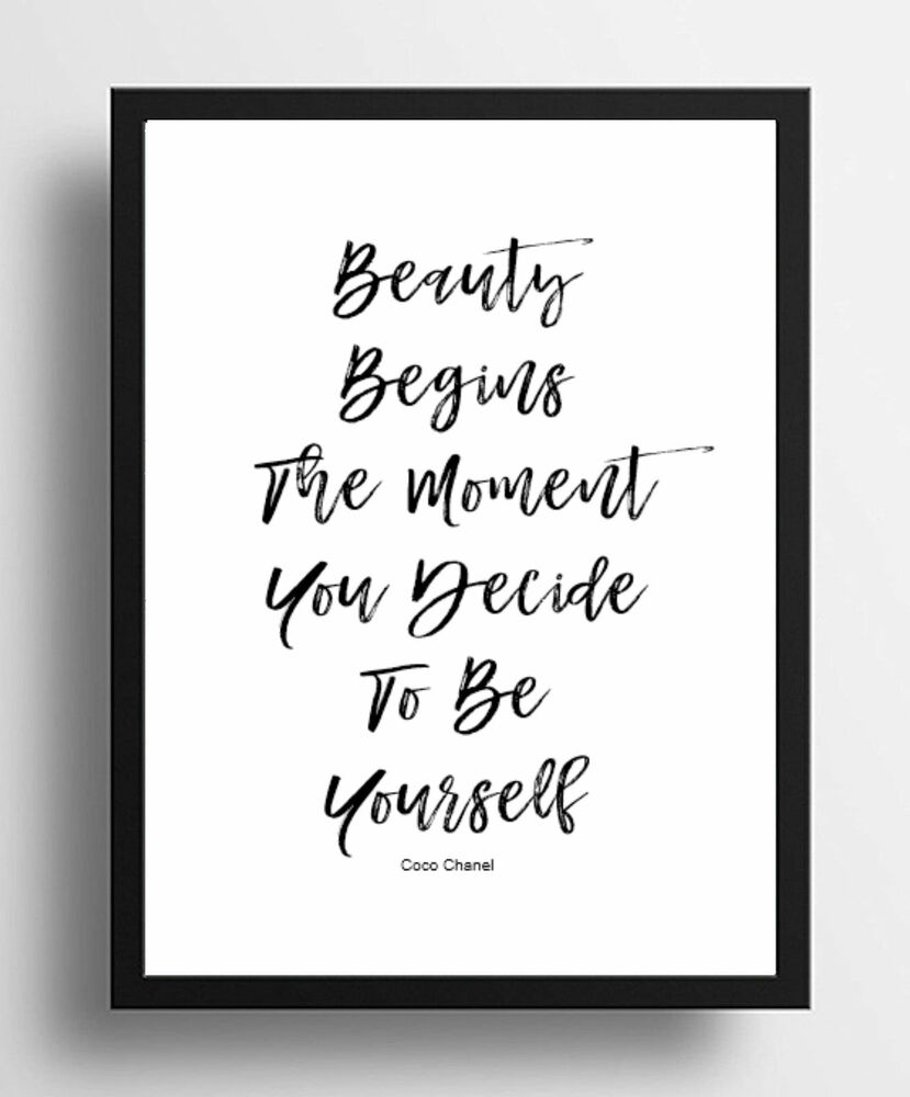 Inspirational Quote Coco Chanel Beauty Quality Poster