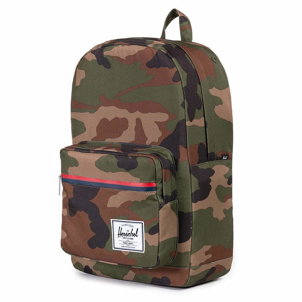 45267721e332 Details about HERSCHEL SUPPLY CO. Men s Pop Quiz 600D Poly Backpack Bag  Woodland Camo Green