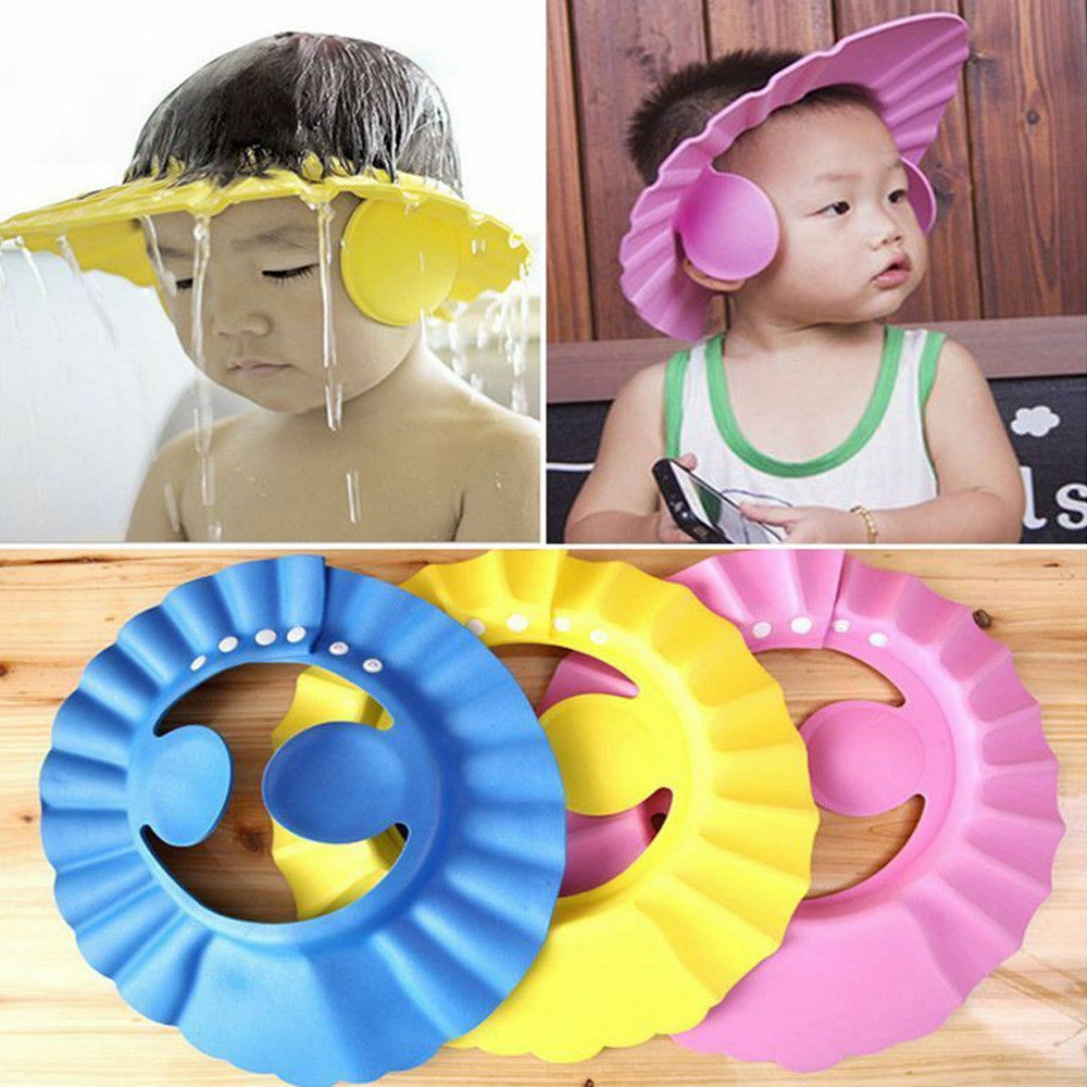 d47023e5e Details about Adjustable Bathing Shower Shampoo Water Cap Hat Ear Hair  Shield For Kids Baby