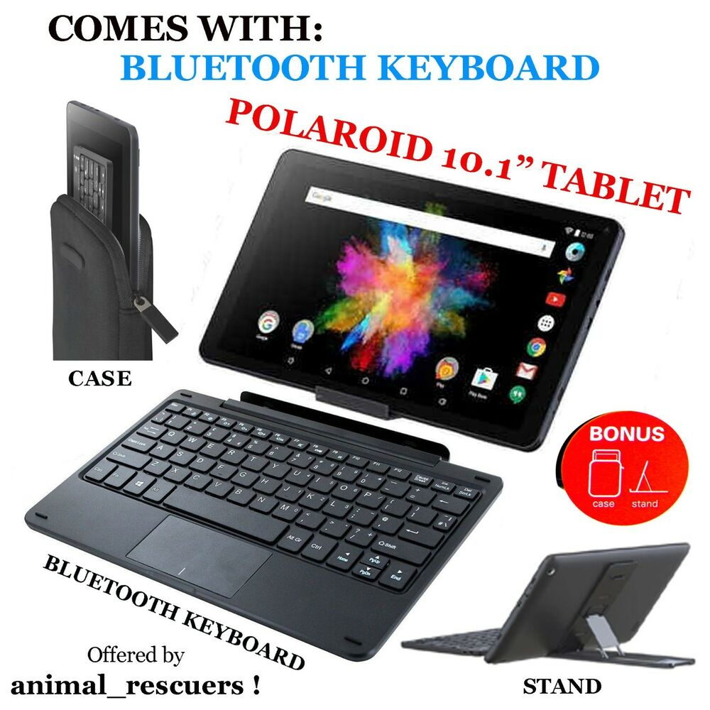 polaroid 10 1 inch tablet with wireless keyboard stand case cover hd accessories ebay. Black Bedroom Furniture Sets. Home Design Ideas