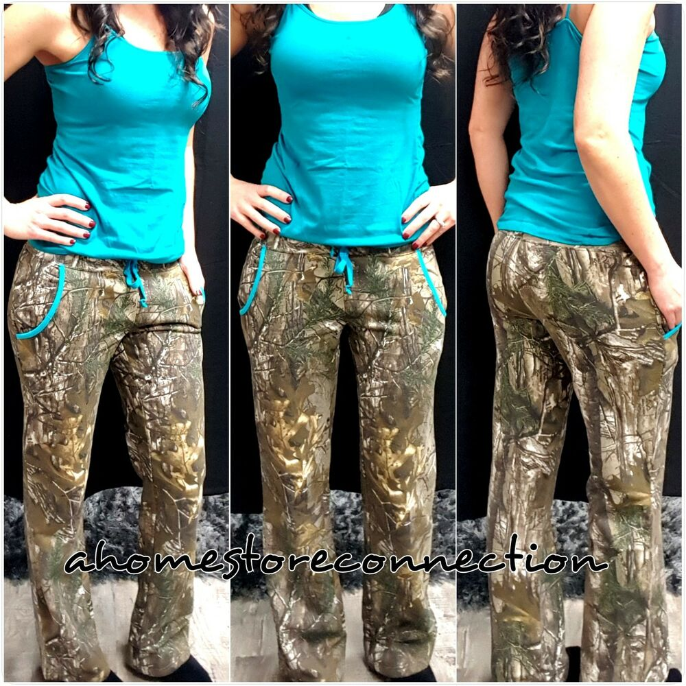 df478949053e3 Details about NEW~WOMENS REALTREE CAMO TURQUOISE TEAL FLEECE HUNTING LOUNGE  SWEAT PANTS~S