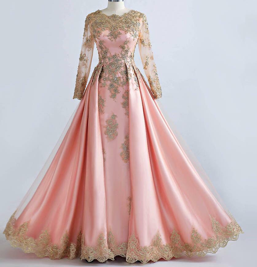 Details about Beaded Gold Lace Long Sleeve Muslim Evening Dresses Pink  Formal Prom Party Gown 42e956d51f4c