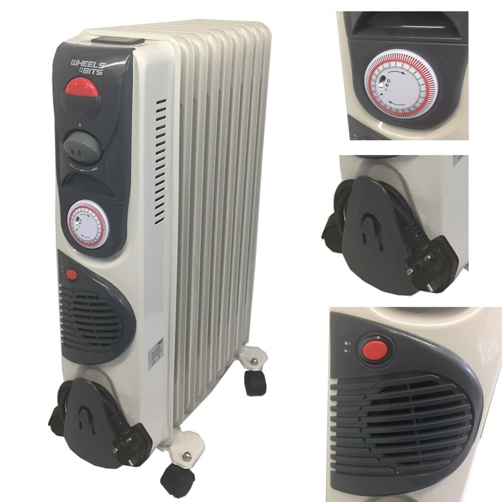 2500 Watt 11 Fin Oil Filled Heater Radiator 24 Hour Time