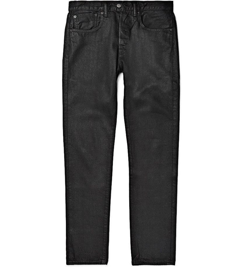 dc671171119b8 Levi s Made and Crafted Empire High Skinny Black Waxed Denim Jeans Patch  Bovine
