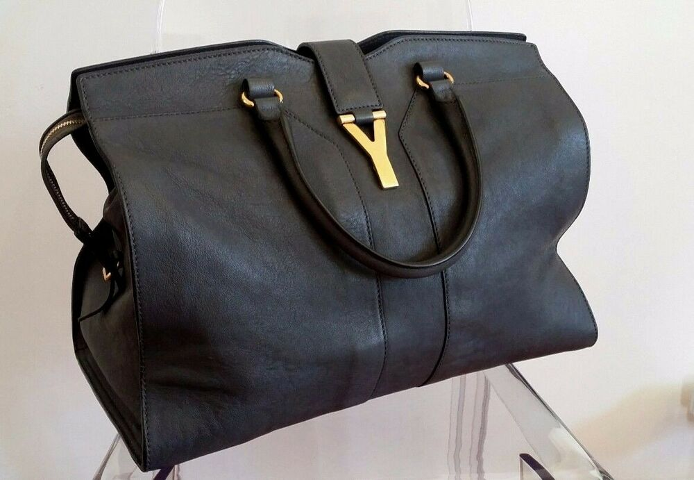Details about AUTHENTIC YVES SAINT LAURENT YSL LARGE  CHYC  CABAS TOTE DARK  GREY RRP  3550 AUD 9cf3d4a1bfb05