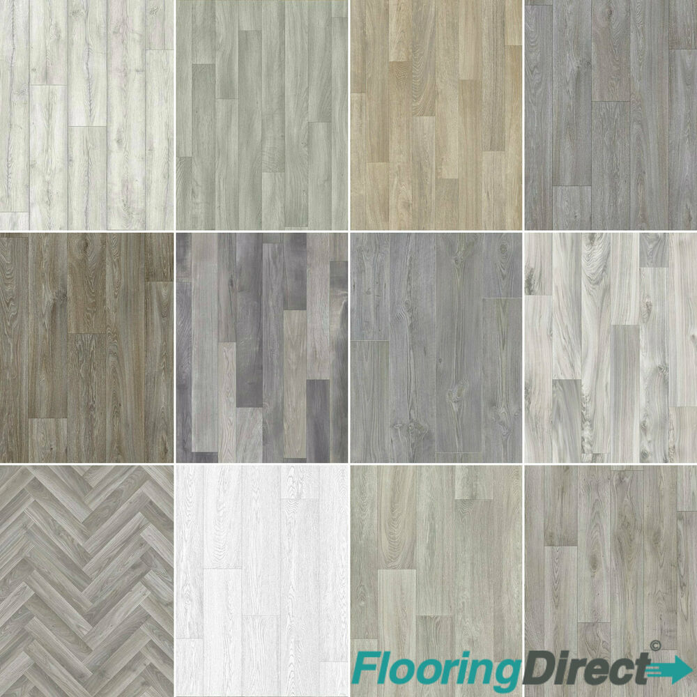 Details About Grey Oak Wood Vinyl Flooring Lino Plank Style Floor 3m 4m Wide