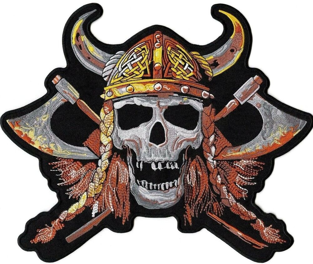 078096482cb Details about axe viking skull warrior patch large motorcycle iron on  jacket biker skeleton jpg 1000x826
