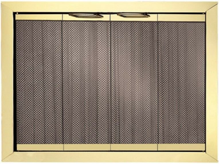 Portland Trim Fyre Glass Fireplace Doors Polished Brass Finish 44 X
