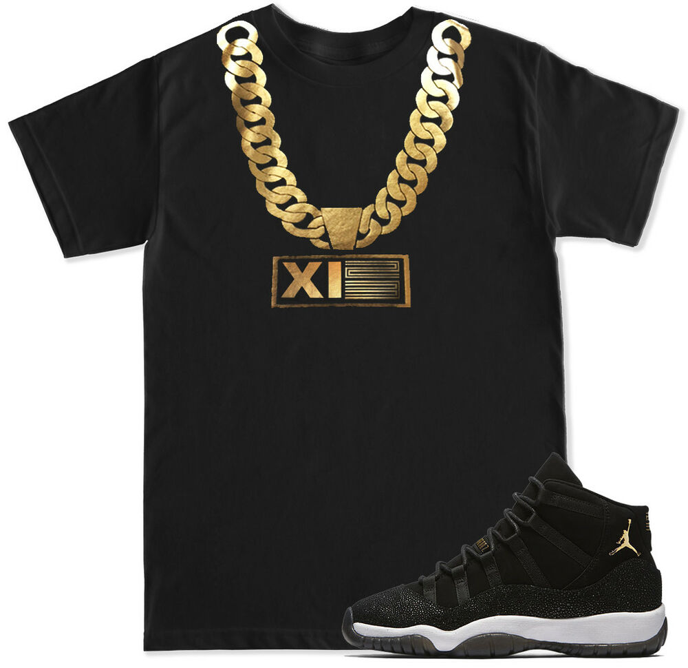a44521e0a3b5f0 Details about Gold Chain T Shirt to match with Air Jordan Retro 11 PRM  Heiress Stingray shoes