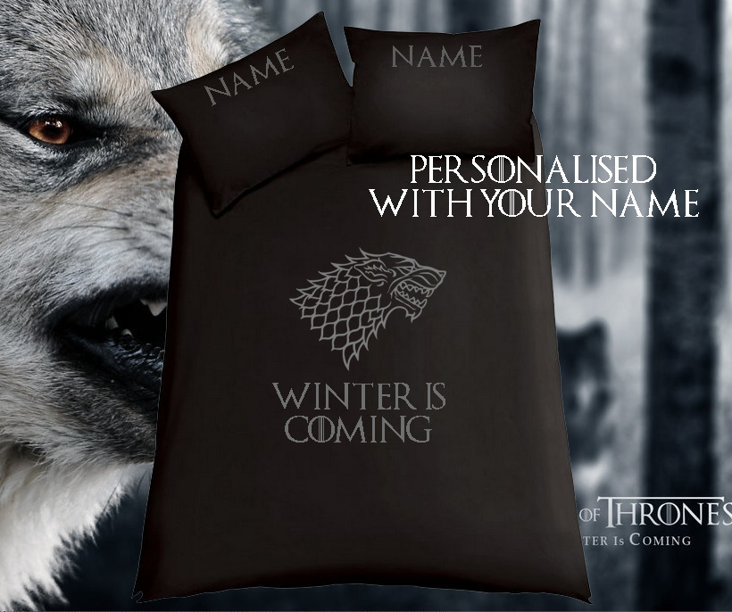 game of thrones winter is coming black bedding duvet cover single or double ebay. Black Bedroom Furniture Sets. Home Design Ideas
