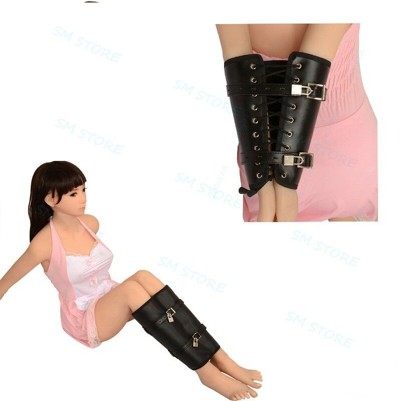 Black Faux Leather Buckled Lace Up Armbinder Leg Binder