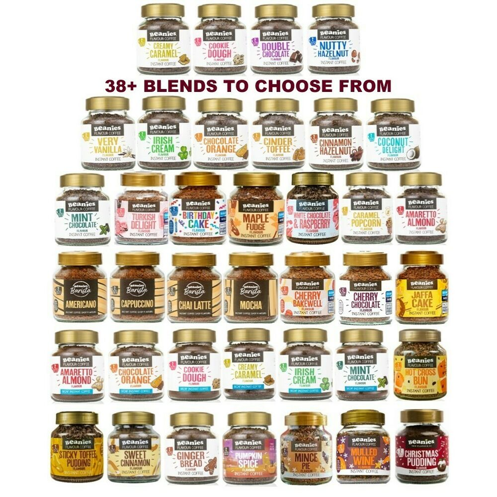 f27386f8619 6x BEANIES FLAVOURED INSTANT GROUND COFFEE 50g JARS  SELECT ANY 6 BLENDS