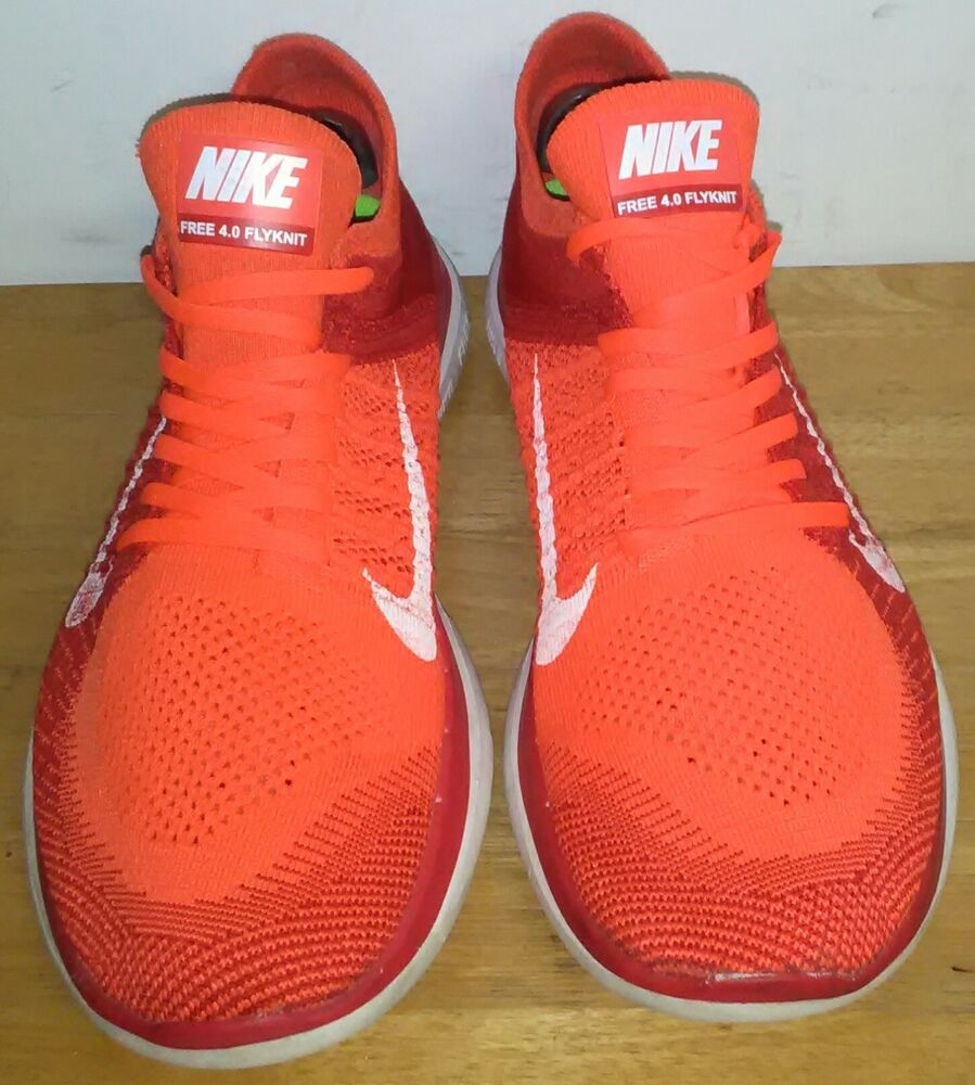 check out 2999c 8de00 Nike Free 4.0 Flyknit Bright Crimson White University Red 631053 601. Size  12   eBay