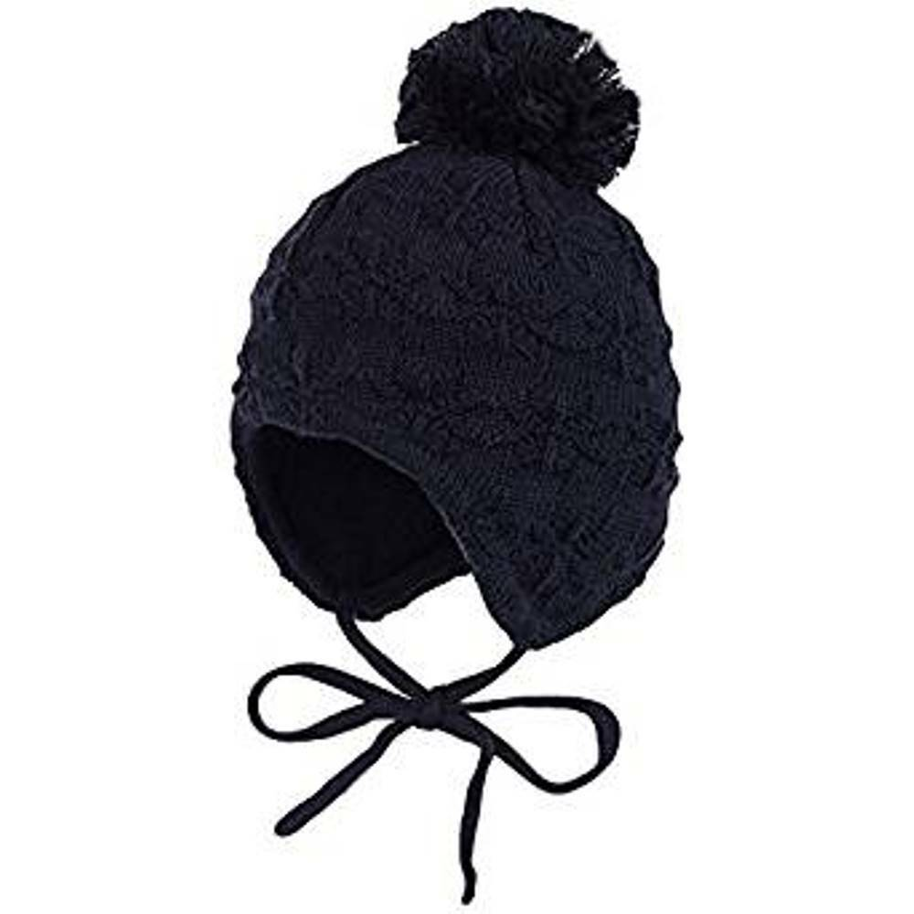 Details about Maximo Baby Boy Knitted Winter Hat Navy Blue Covers Ears With  Strings Pom Pom d16115a7f4d