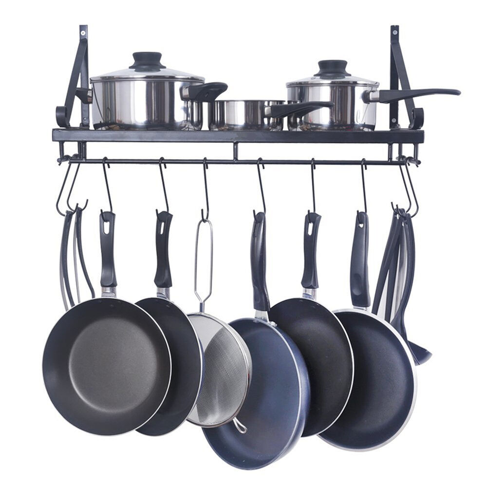 kitchen pot and pan storage 60cm xl wall hanging kitchen pot pan rack rustproof iron 8397