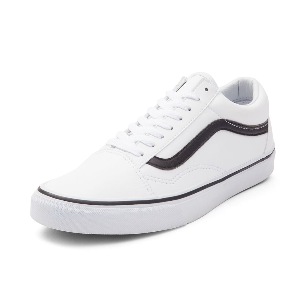 5c89047672 Details about New Vans Old Skool Skate Shoe White Black Leather Oreo MENS  Shoes