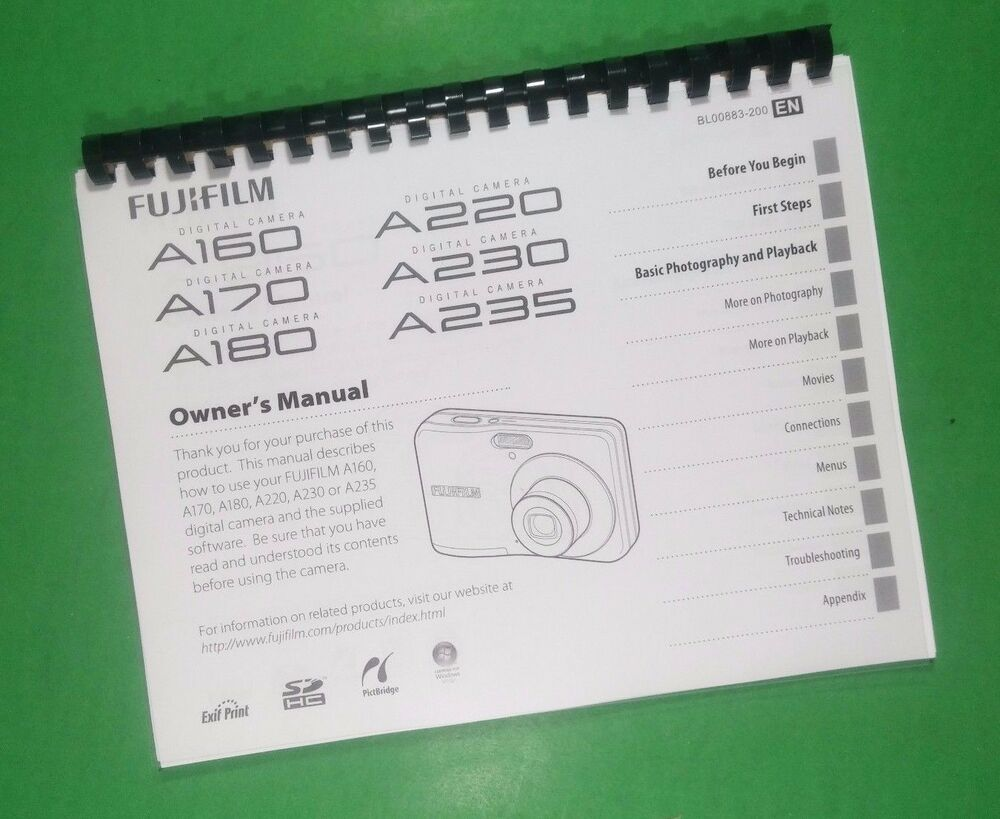 laser printed fujifilm a160 a170 a180 finepix camera 102 page owners rh ebay com Mac Cube Manual Fujifilm Warranty Card