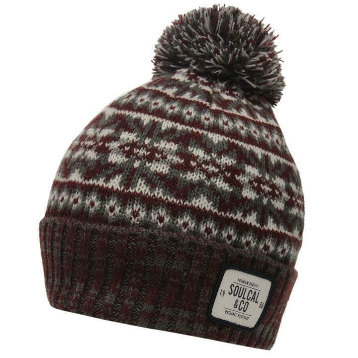 Details about MENS SOULCAL DOGODA BURGUNDY WOOLLY KNIT KNITTED SKI SKIING BOBBLE  BEANIE HAT dcbb4cead