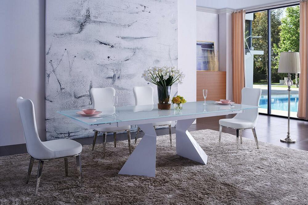 Details About White Dining Table Set 5P Eco Leather Chair Made In Italy Modern ESF 992 DT 6138