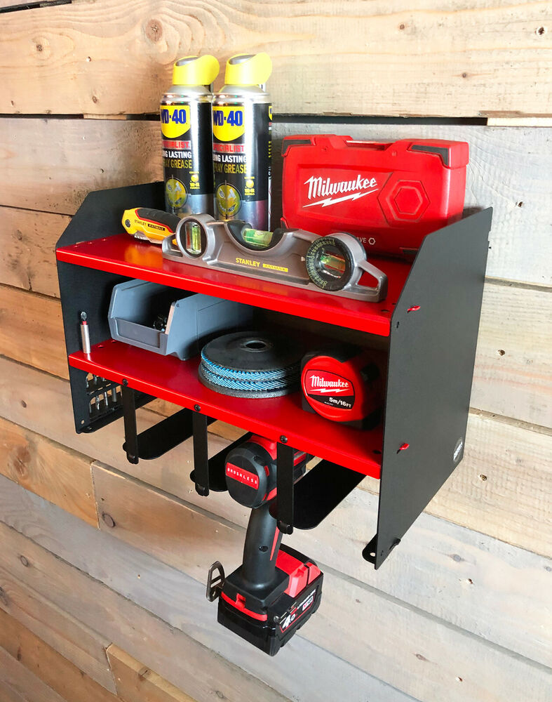 Red Milwaukee Drill Driver Battery Tool Rack Shelving