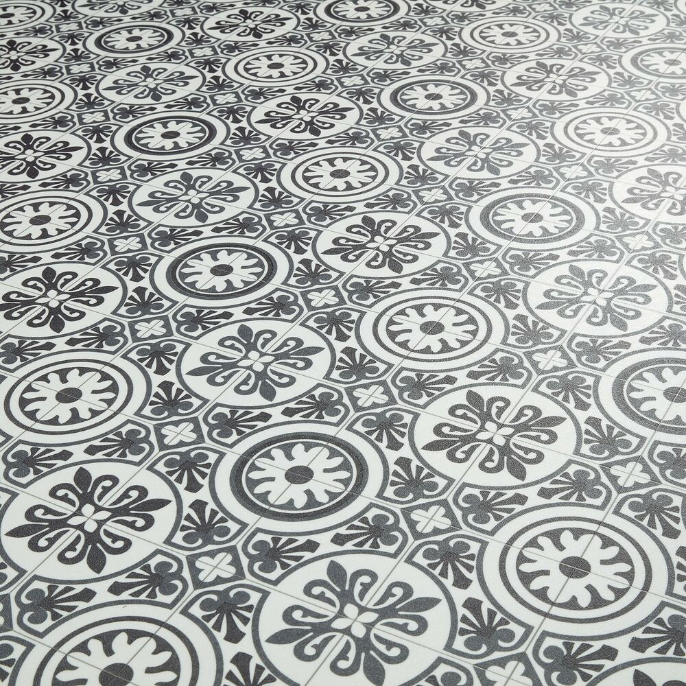 Moroccan Tile Effect Vinyl Flooring Cushioned Sheet Lino