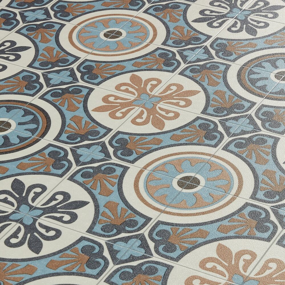 moroccan tile effect vinyl flooring lino cushioned sheet roll tangier 05 ebay. Black Bedroom Furniture Sets. Home Design Ideas