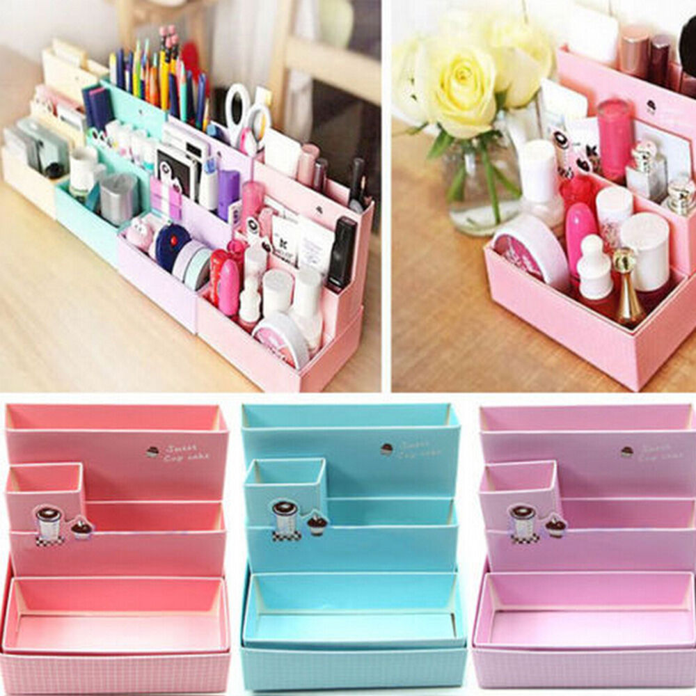 diy papier karton box schreibtisch dekor schreibwaren makeup organizer cj ebay. Black Bedroom Furniture Sets. Home Design Ideas
