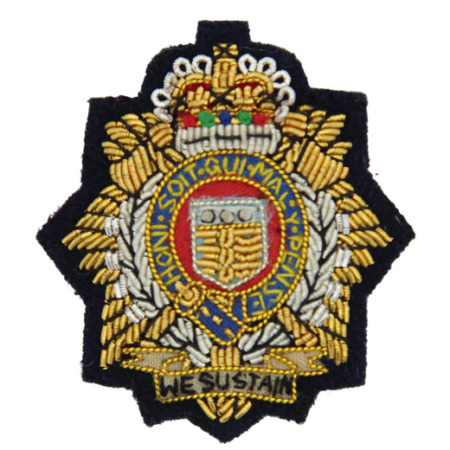 img-RLC ROYAL LOGISTICS CORP OFFICERS BERET CAP BADGE WIRE EMBROIDERED