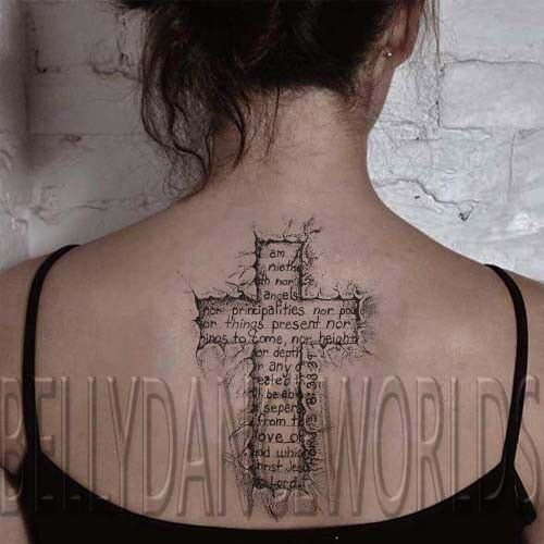Spiritual Side Tattoo 3: TORN RIPPED SKIN 3D CHRISTIAN CROSS SPIRITUAL TEMPORARY