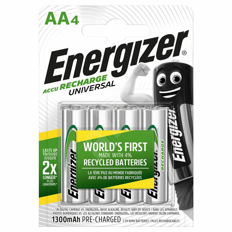 4 x Energizer Rechargeable AA batteries Universal 1300 mAh
