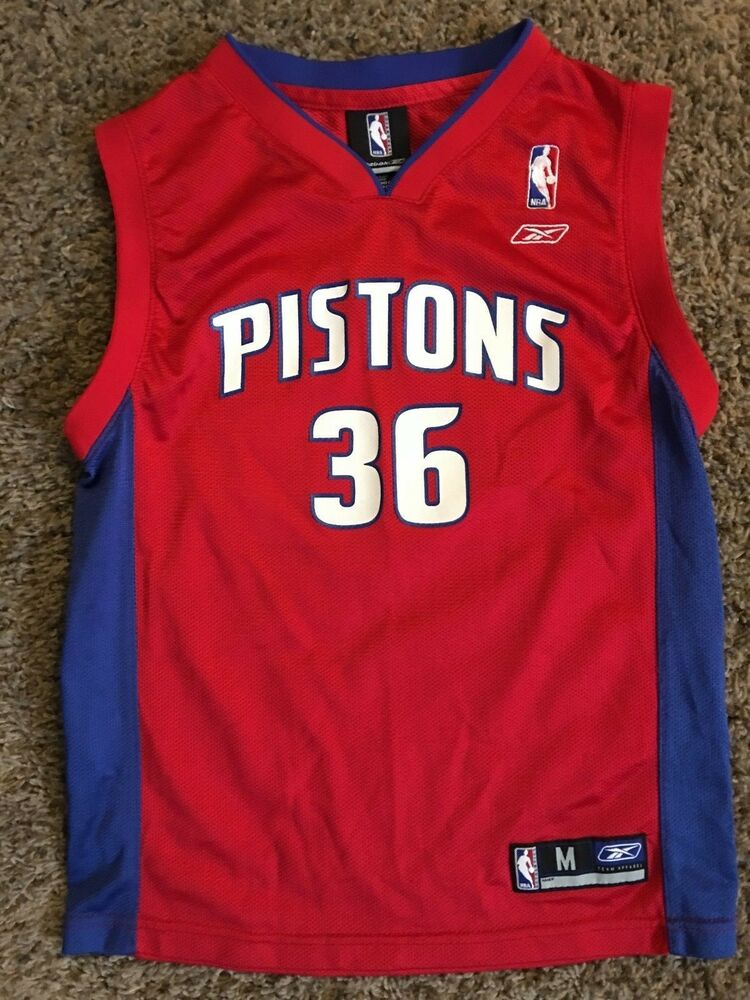DETROIT PISTONS   36 WALLACE NBA BASKETBALL JERSEY BY REEBOK YOUTH MED.  10 12  d00e80579