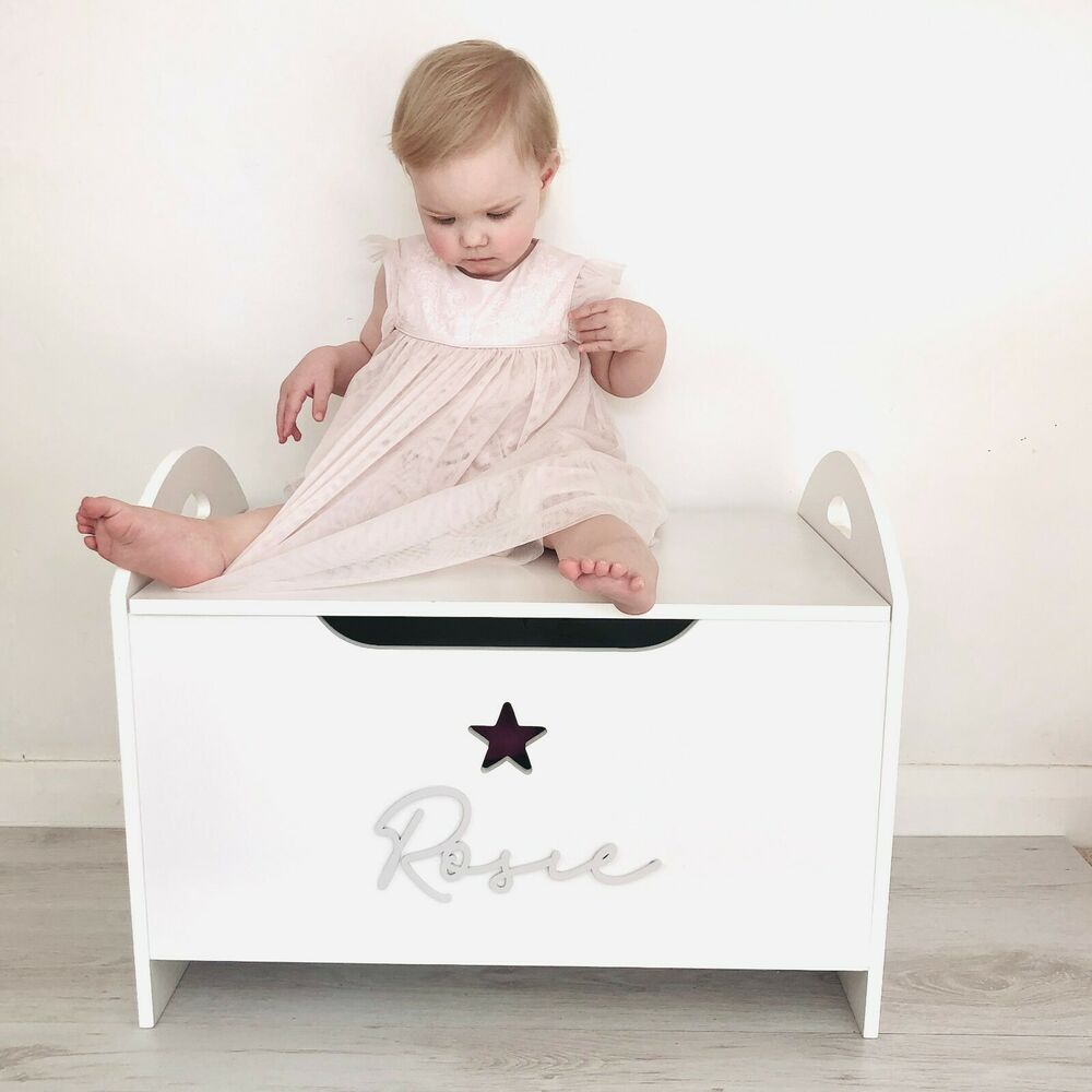 white wooden personalised children 39 s toy box storage box chest nursery girls boy ebay. Black Bedroom Furniture Sets. Home Design Ideas