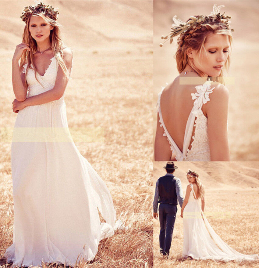 Country wedding dress ebay white bohemian boho country wedding dress lace beach chifon backless bridal gown junglespirit Images