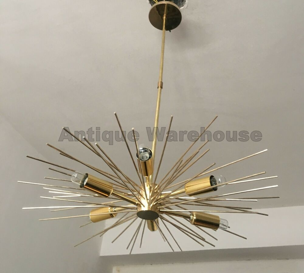 Chandelier solid brass mid century 6 arms pendant sputnik ceiling chandelier solid brass mid century 6 arms pendant sputnik ceiling light fixture ebay arubaitofo Choice Image