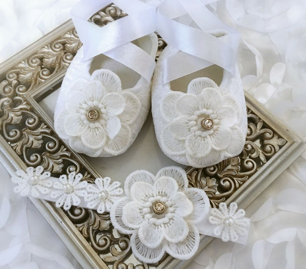 Details about Baby Girl White Christening Baptism Wedding Shoes Crochet  Flowers Headband 0f39c76eb7ce
