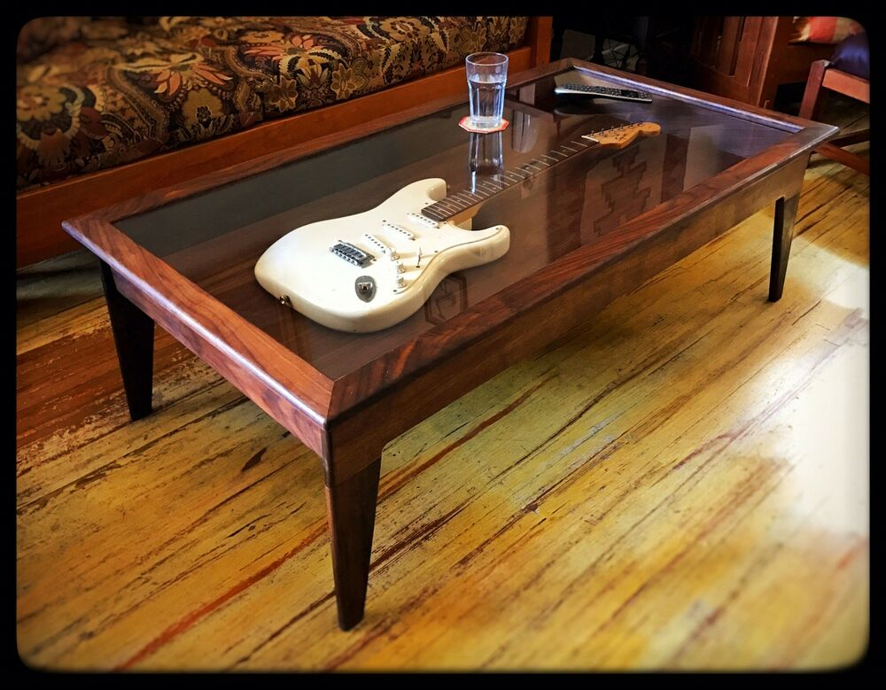 Amazing Coffee Table Shadow Box #3 - Handmade Walnut Modern-Style Shadow Box Guitar Display Case Coffee Table |  EBay