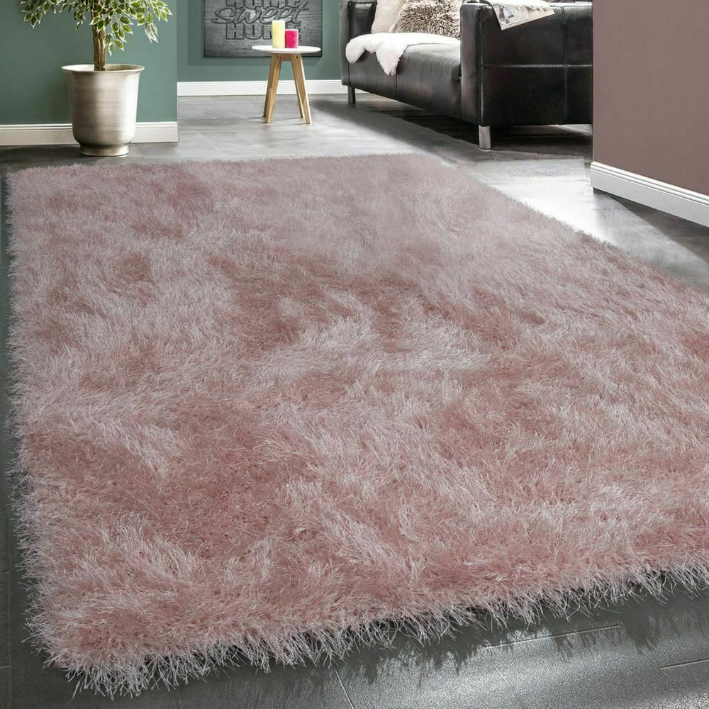 shaggy hochflor teppich modern soft garn mit glitzer in uni pastell rosa ebay. Black Bedroom Furniture Sets. Home Design Ideas