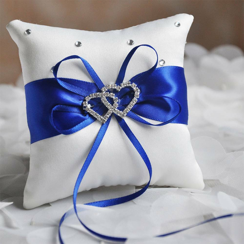 double heart satin ring pillow rhinestone pillow cushion for wedding party decor ebay. Black Bedroom Furniture Sets. Home Design Ideas