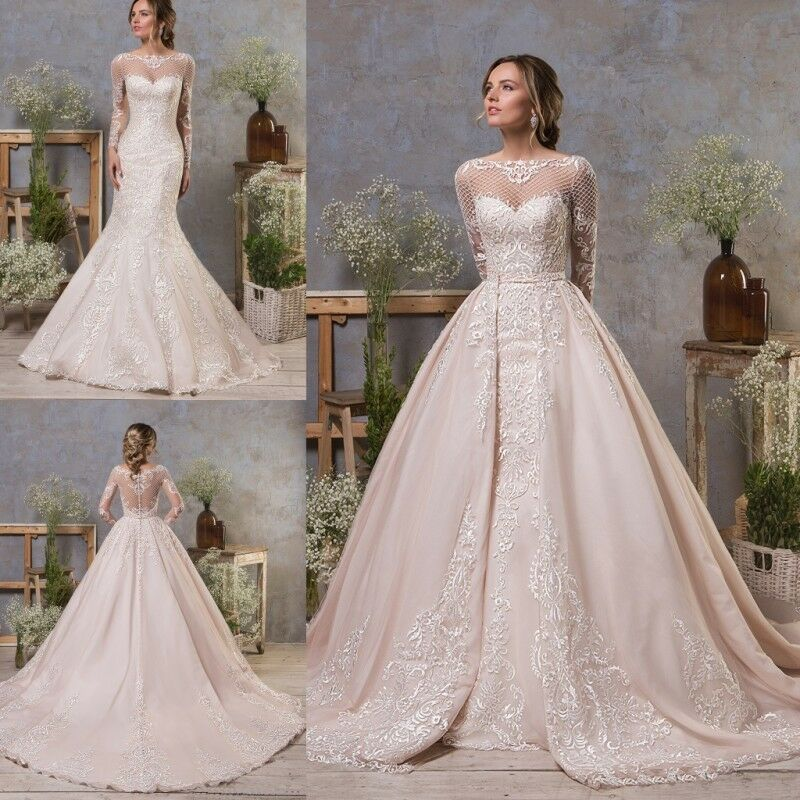 Mermaid Wedding Dresses With Sleeves: Wedding Dresses Detachable Train Long Sleeves Mermaid