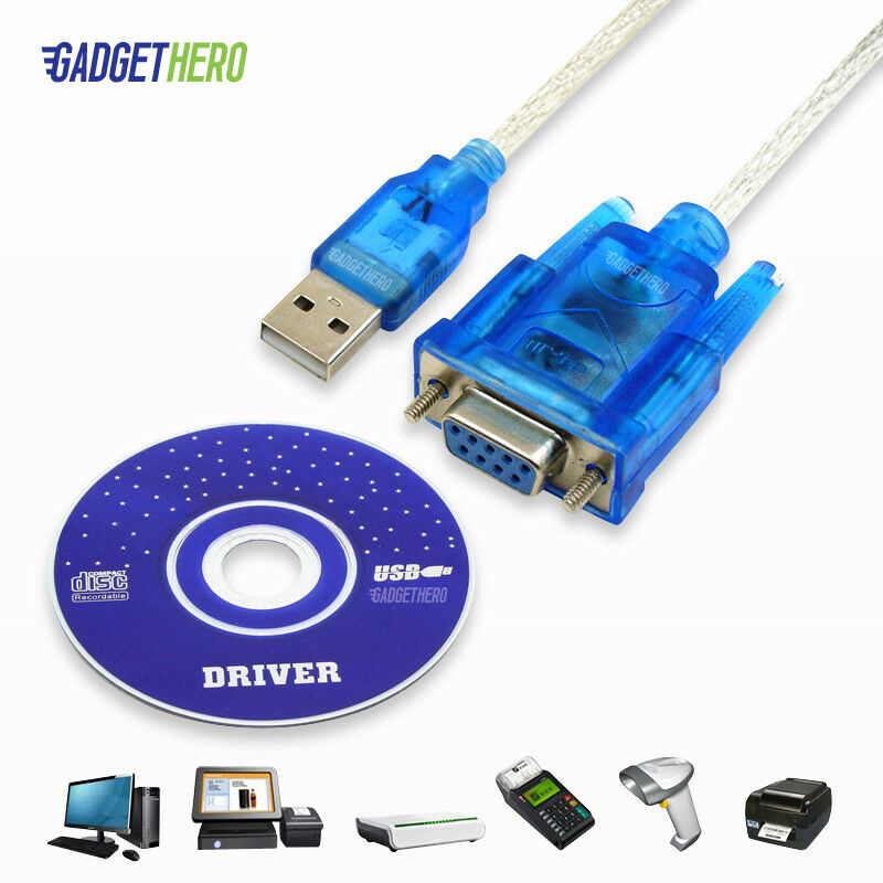 Db9 9 pin serial rs232 female to usb com port converter adapter cable lead ch340 ebay - Usb serial port converter ...