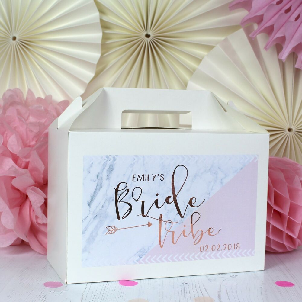 PERSONALISED HEN PARTY GIFT BOX | BRIDE TRIBE | ROSE GOLD PARTY ...