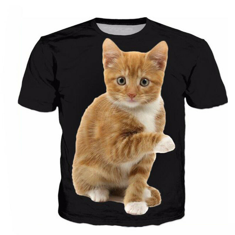 8ad5b7febe53a Details about New Womens Mens Cute Cat Funny Animals 3D Print Casual T-Shirt  Short Sleeve Tops