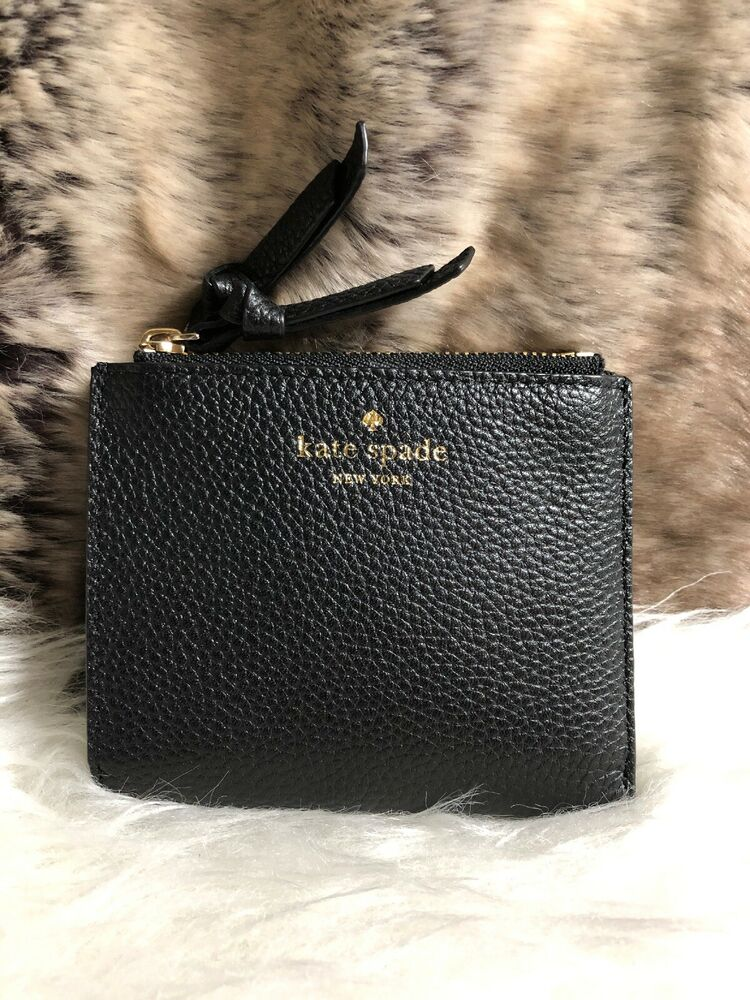 d86cfd519ba9e NWT Kate Spade Small Malea Bifold Wallet With Coin Pocket Black Pebbled  Leather