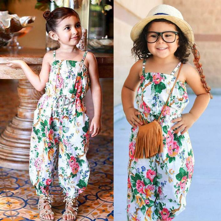 c20dd6881f7b Details about Toddler Baby Kids Girls Floral Print Sleeveless Strap Rompers  Jumpsuit Outfits